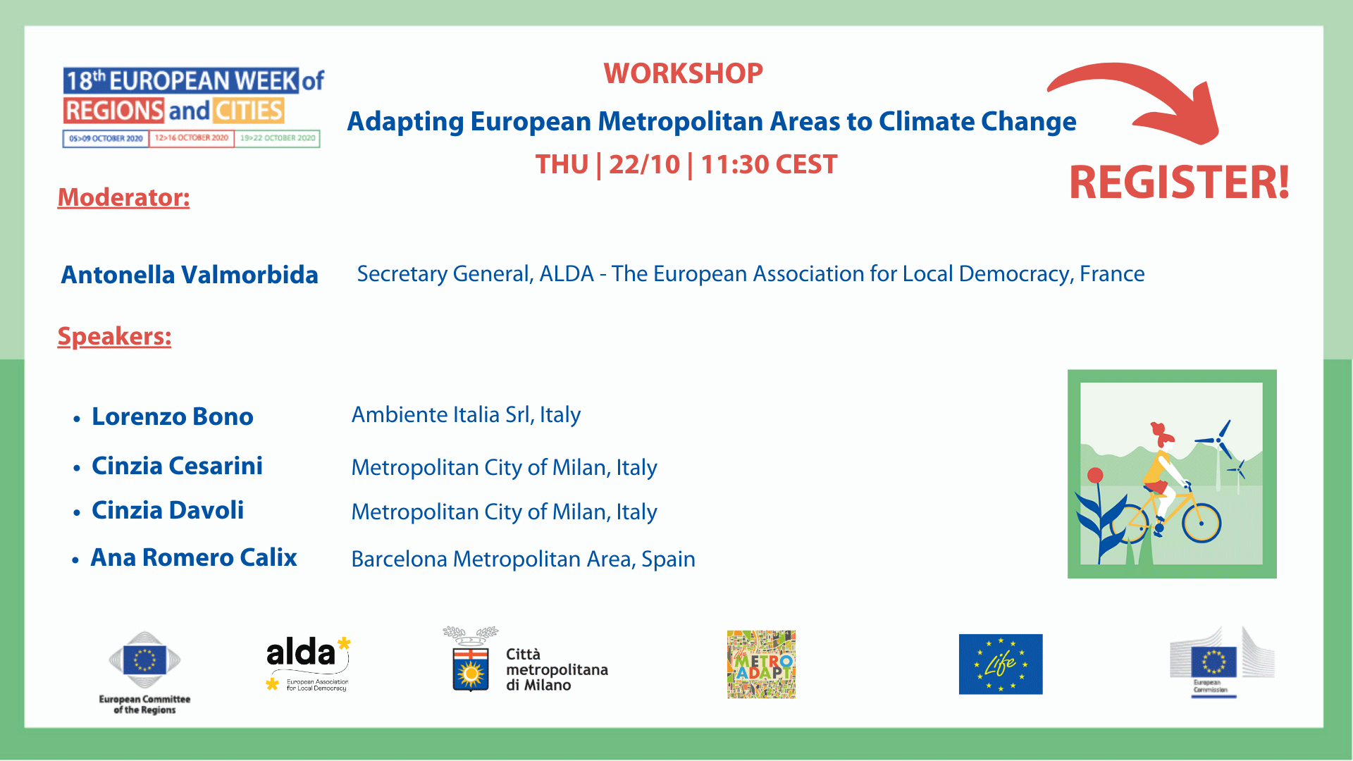 ADAPTING EUROPEAN METROPOLITAN AREAS TO CLIMATE CHANGE: JOIN THE WORKSHOP!